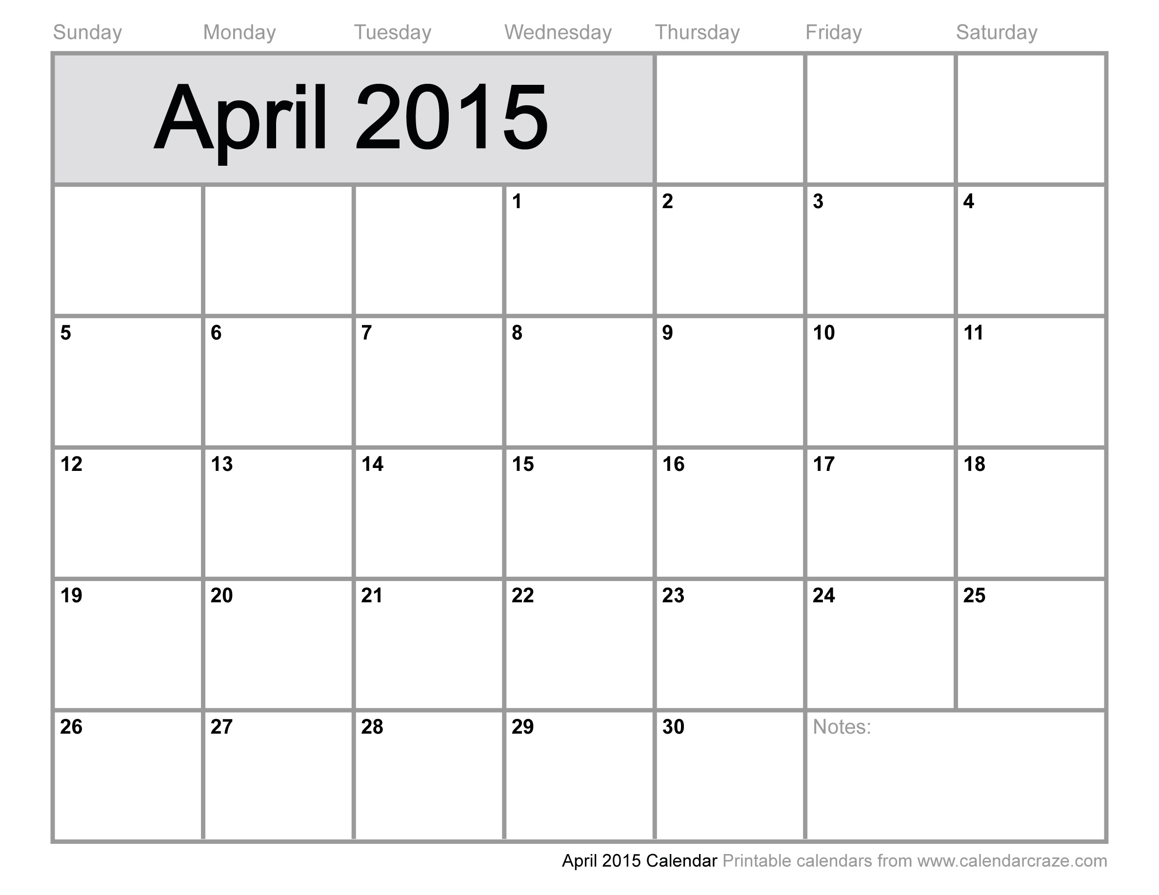 5 Images of 2015 Printable Calendar April