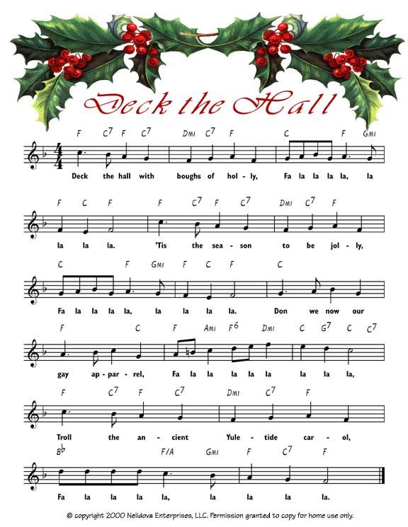 5 Images of Printable Christmas Sheet Music Deck The Hall