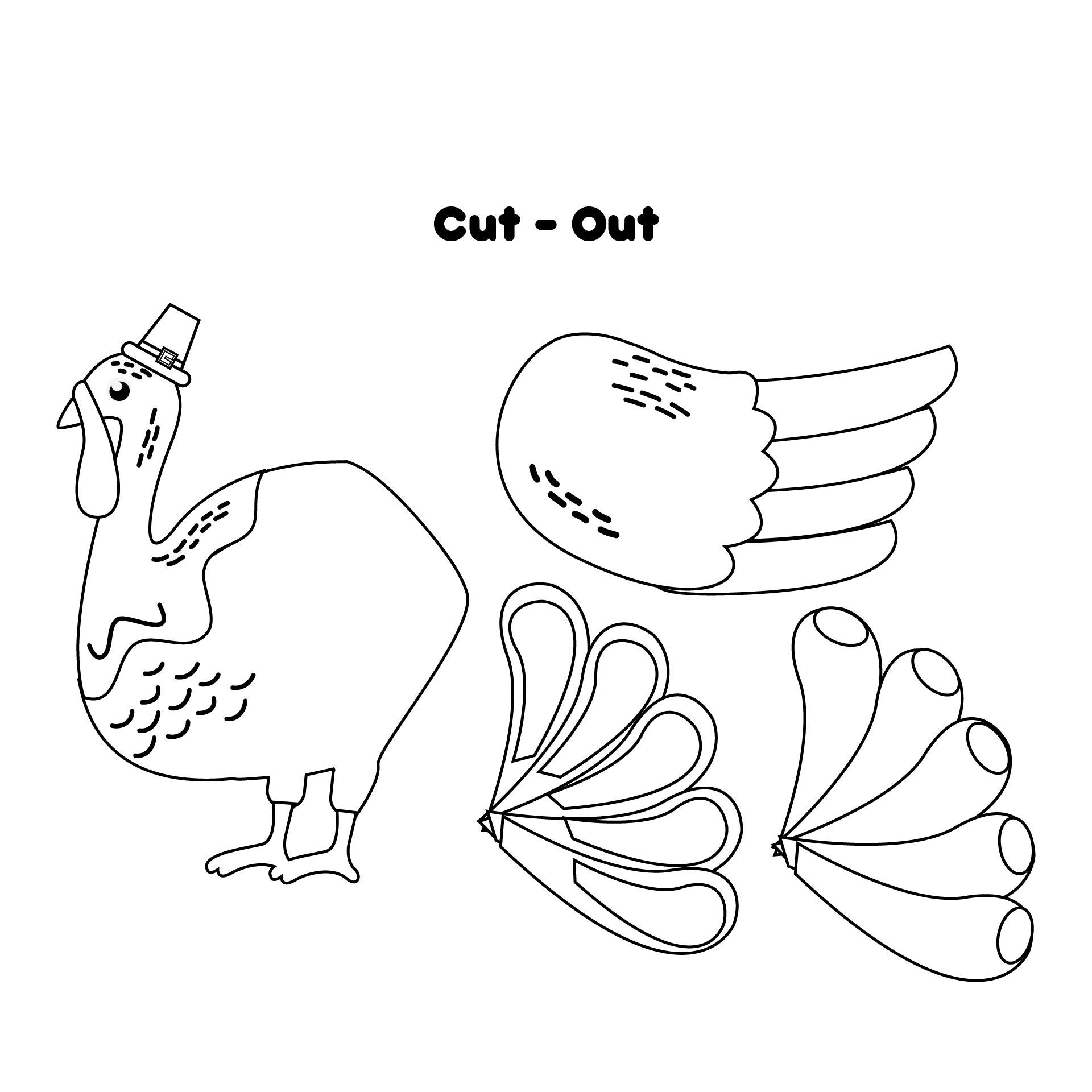 Color Turkey Cut Out Template