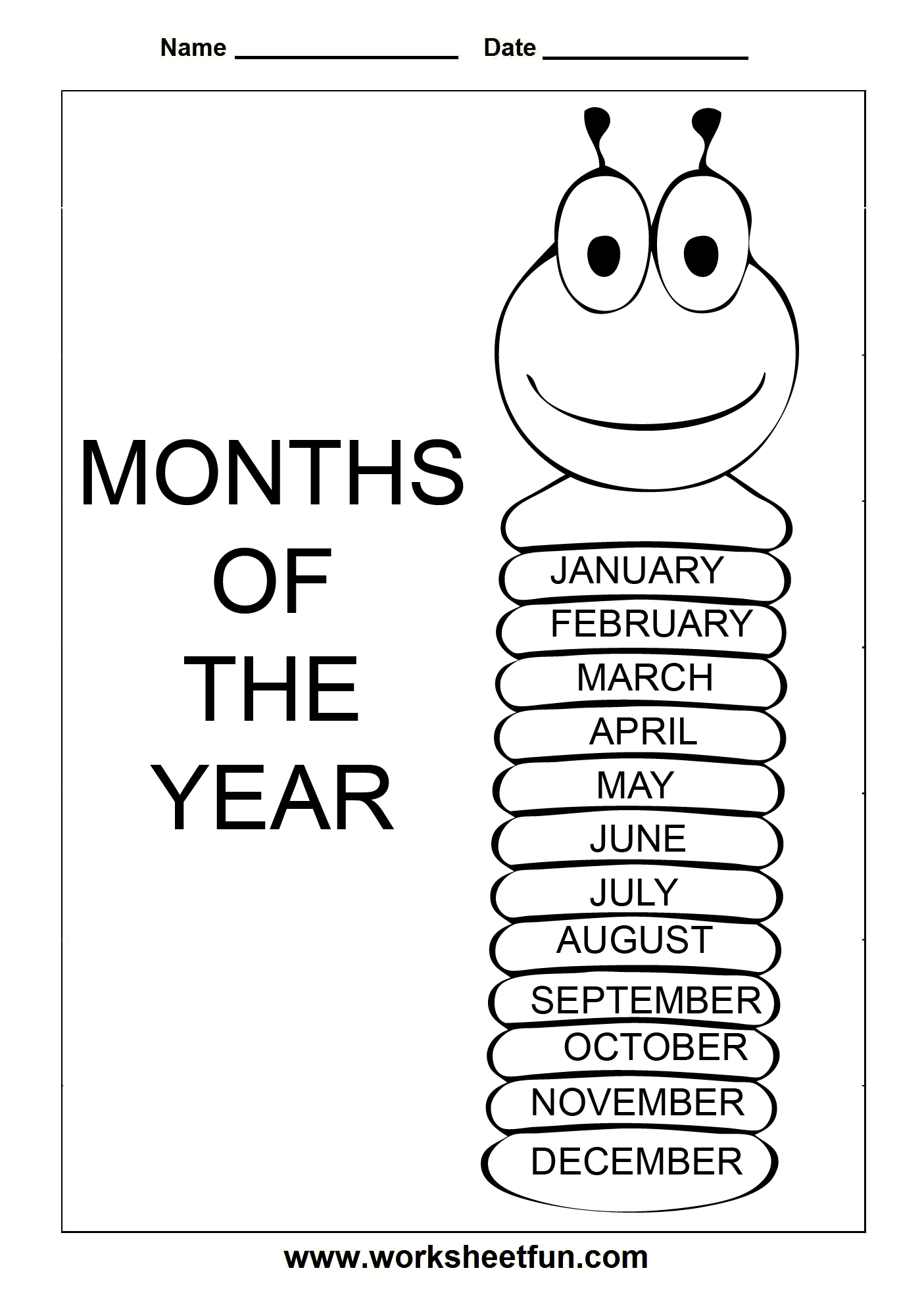 Months Of The Year Worksheets Free Printable - Intrepidpath