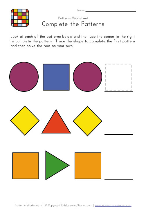 Pattern Worksheets : pattern worksheets preschool Pattern ...