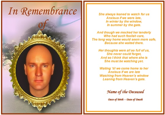 8 best images of funeral card templates free printable for Funeral memory cards free templates