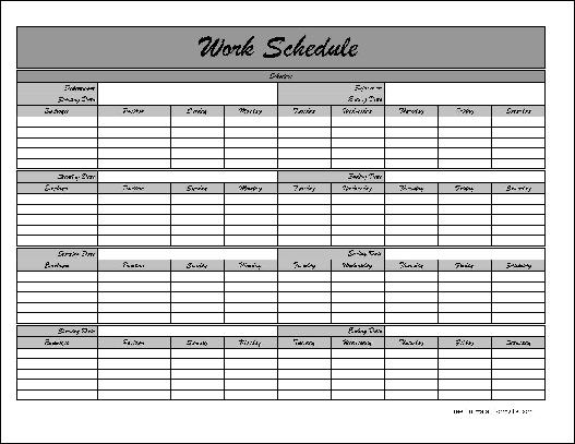 9 Images of Monthly Work Schedule Template Printable
