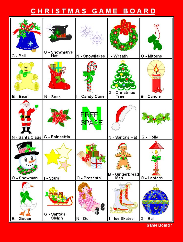 8 Images of Printable Christmas Bingo Game Cards