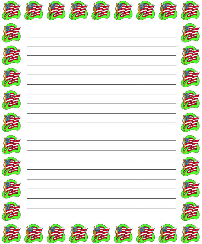 Printable Christmas Border Lined Writing Paper