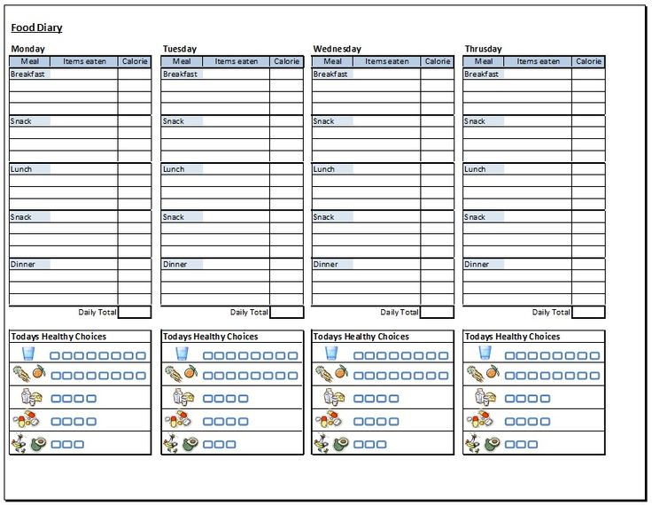 9 Images of Free Printable Food Diary