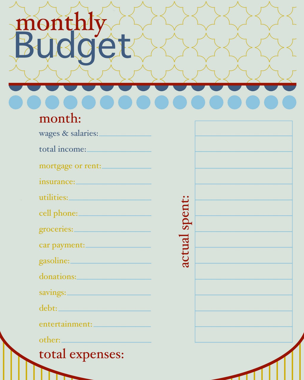 Free Printable Monthly Budget Sheet