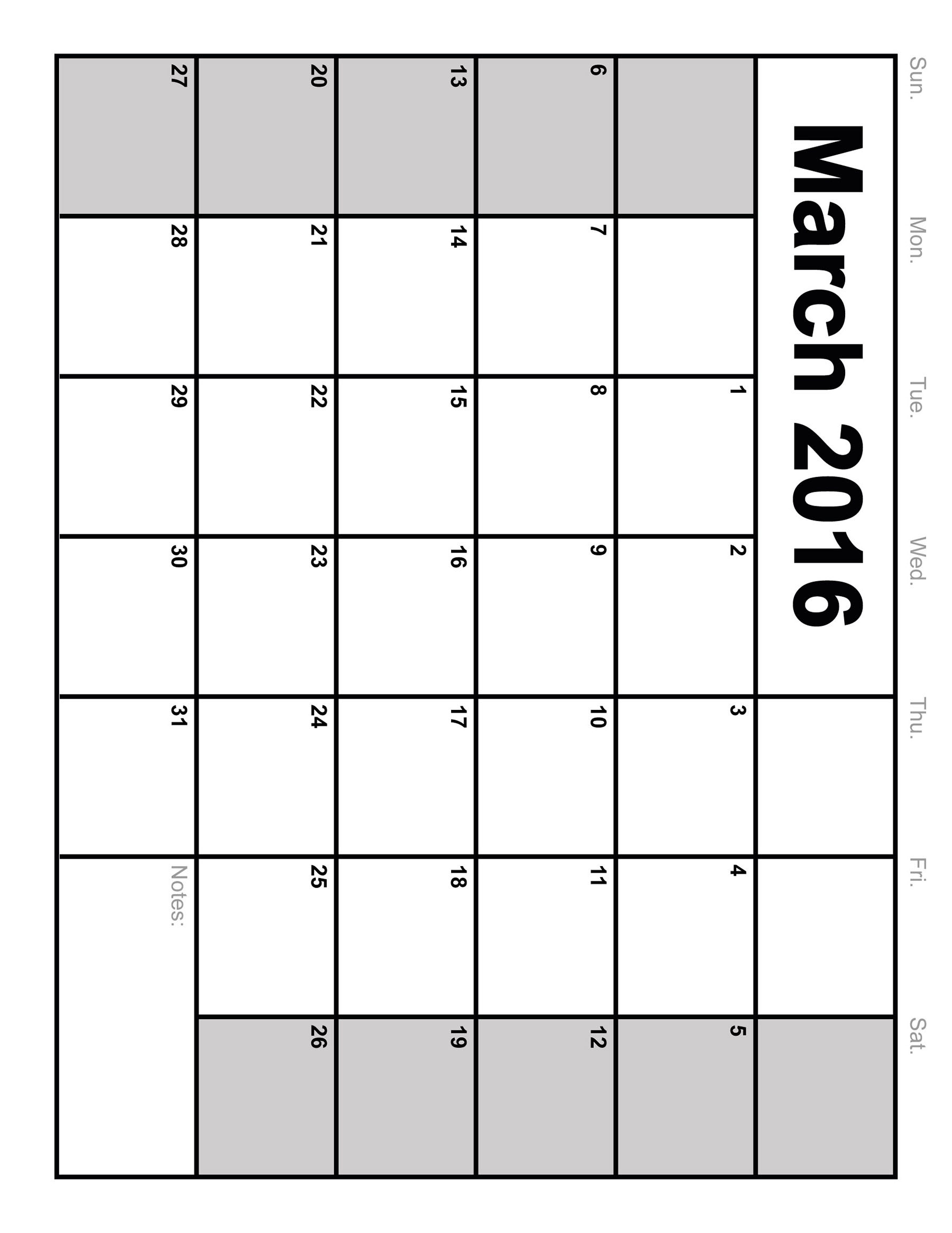 5 Images of Free Printable Blank Monthly Calendar 2016