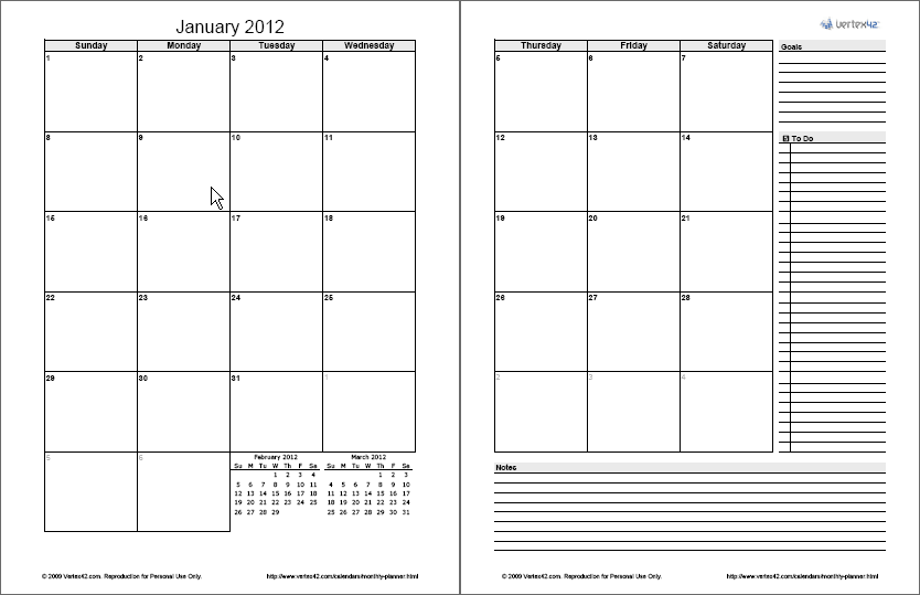 6 Images of 2 Page Monthly Planner Printable
