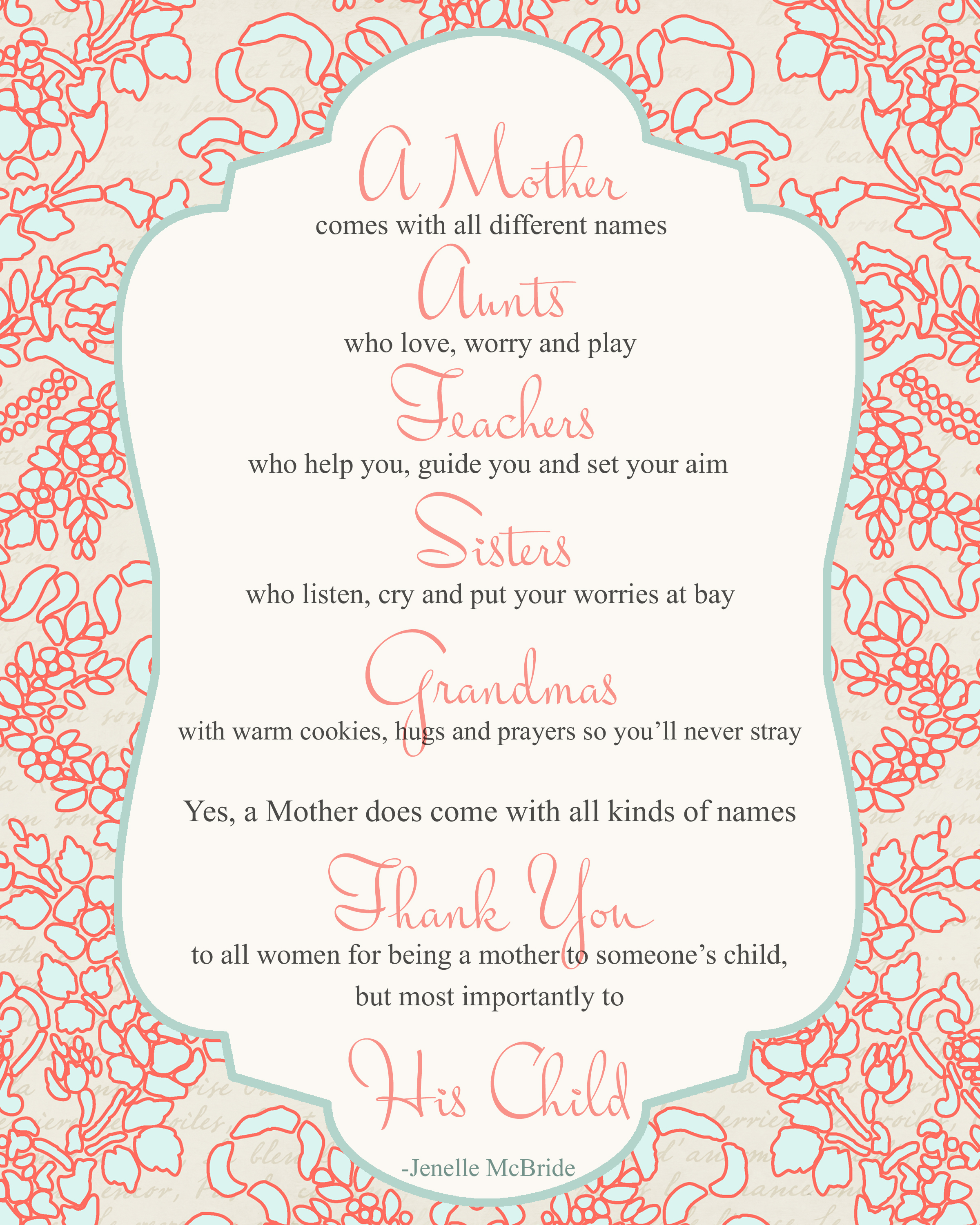 Printable Mother Day Poems