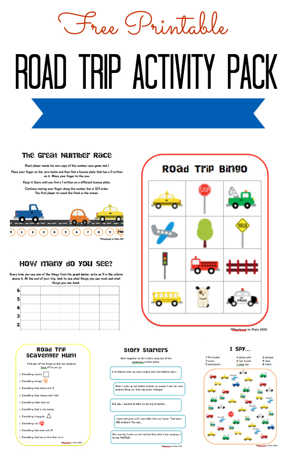 8 Images of Road Trip Activity Pack Printable