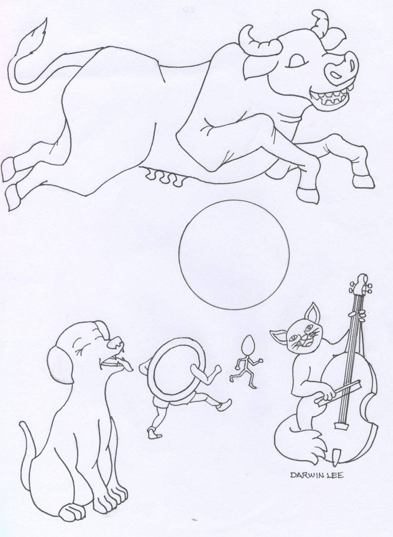 5 Images of Hey Diddle Diddle Nursery Rhyme Coloring Pages Printable