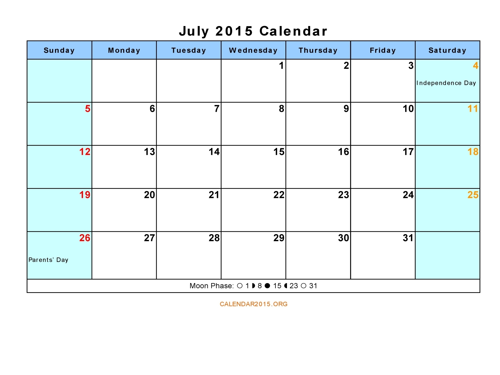 8 Images of Calendar July 2015 Printable PDF