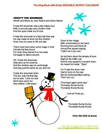 6 Images of Frosty The Snowman Story Printable