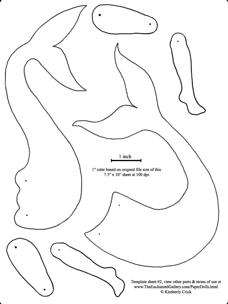7 Images of Printable Mermaid Templates