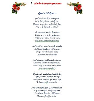 Mothers Day Poems Prayers