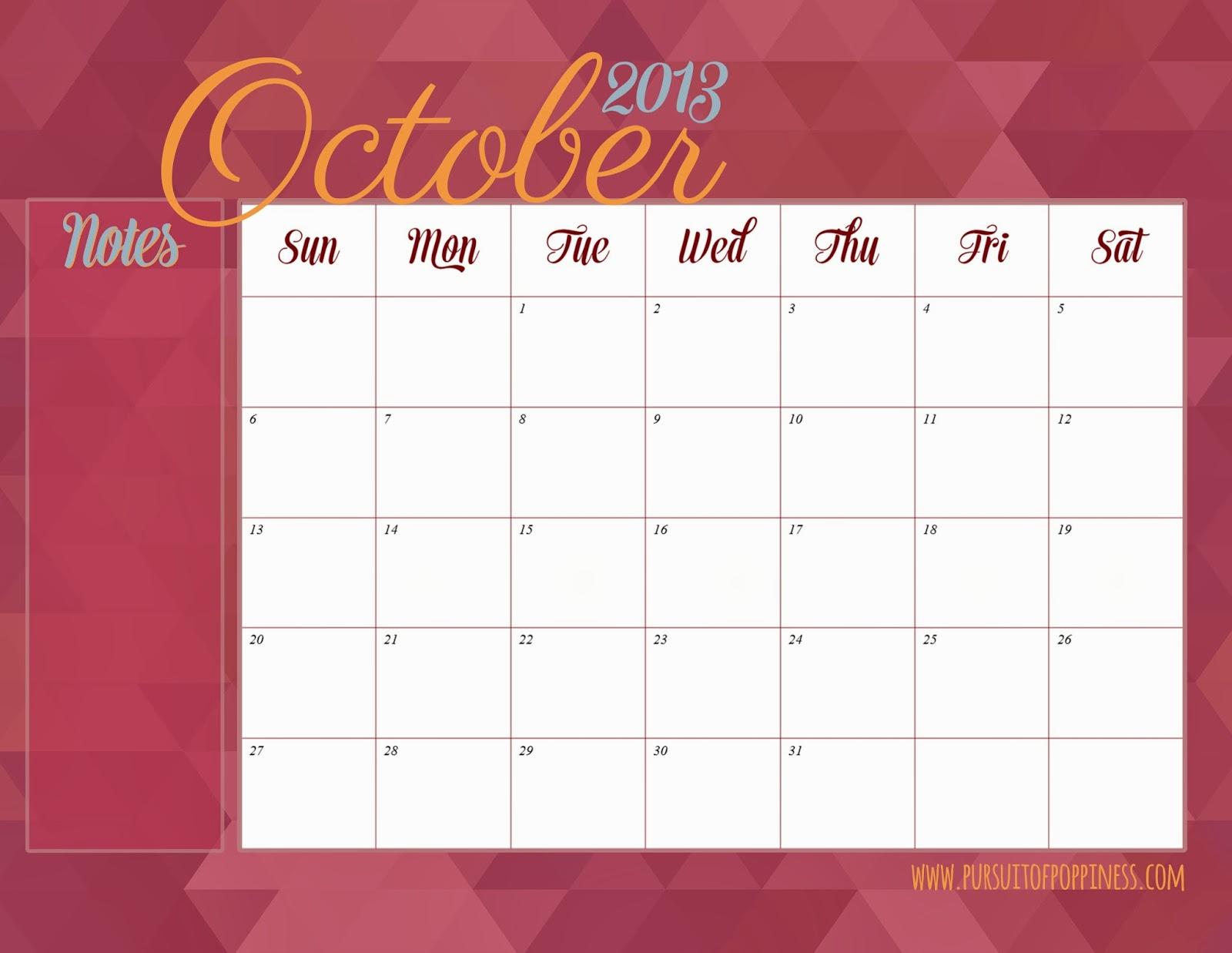 October Calendar 2013 : Best images of printable calendar september october