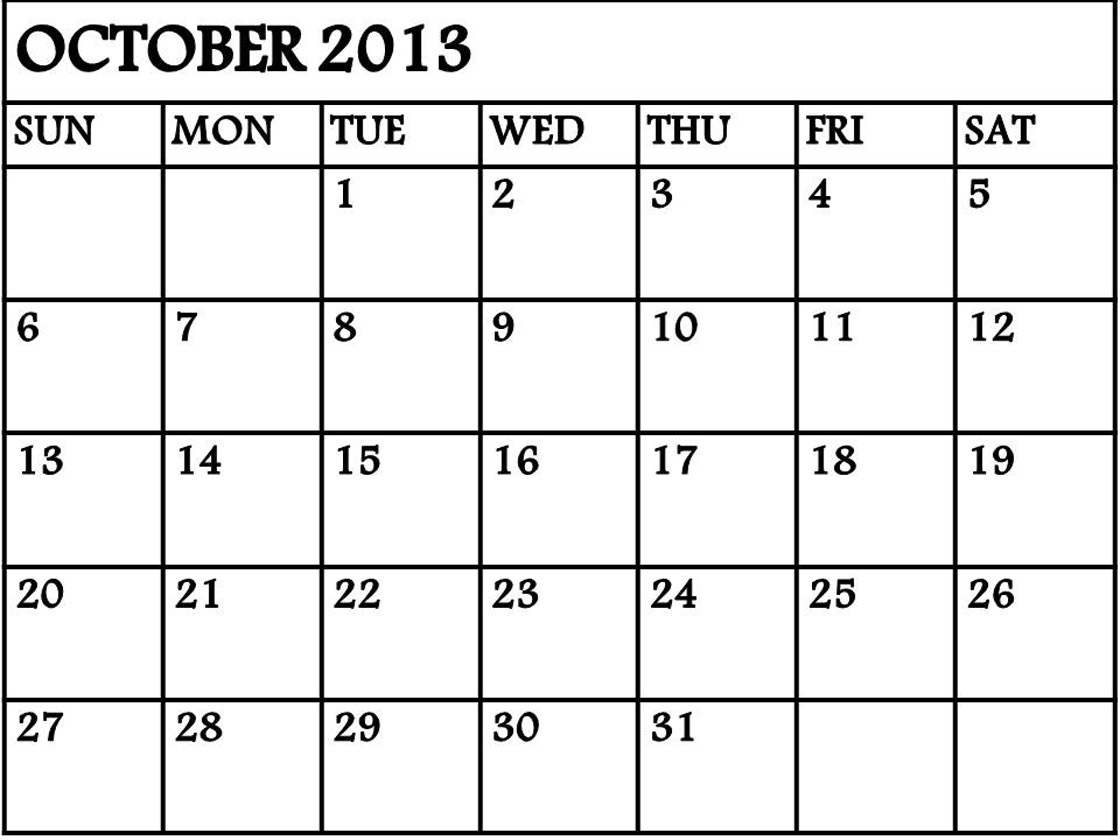 4 best images of printable 2013 monthly calendar template