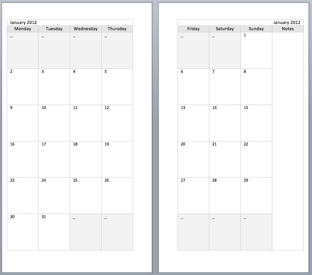 8 best images of filofax 2016 calendar printable free for Two page monthly calendar template