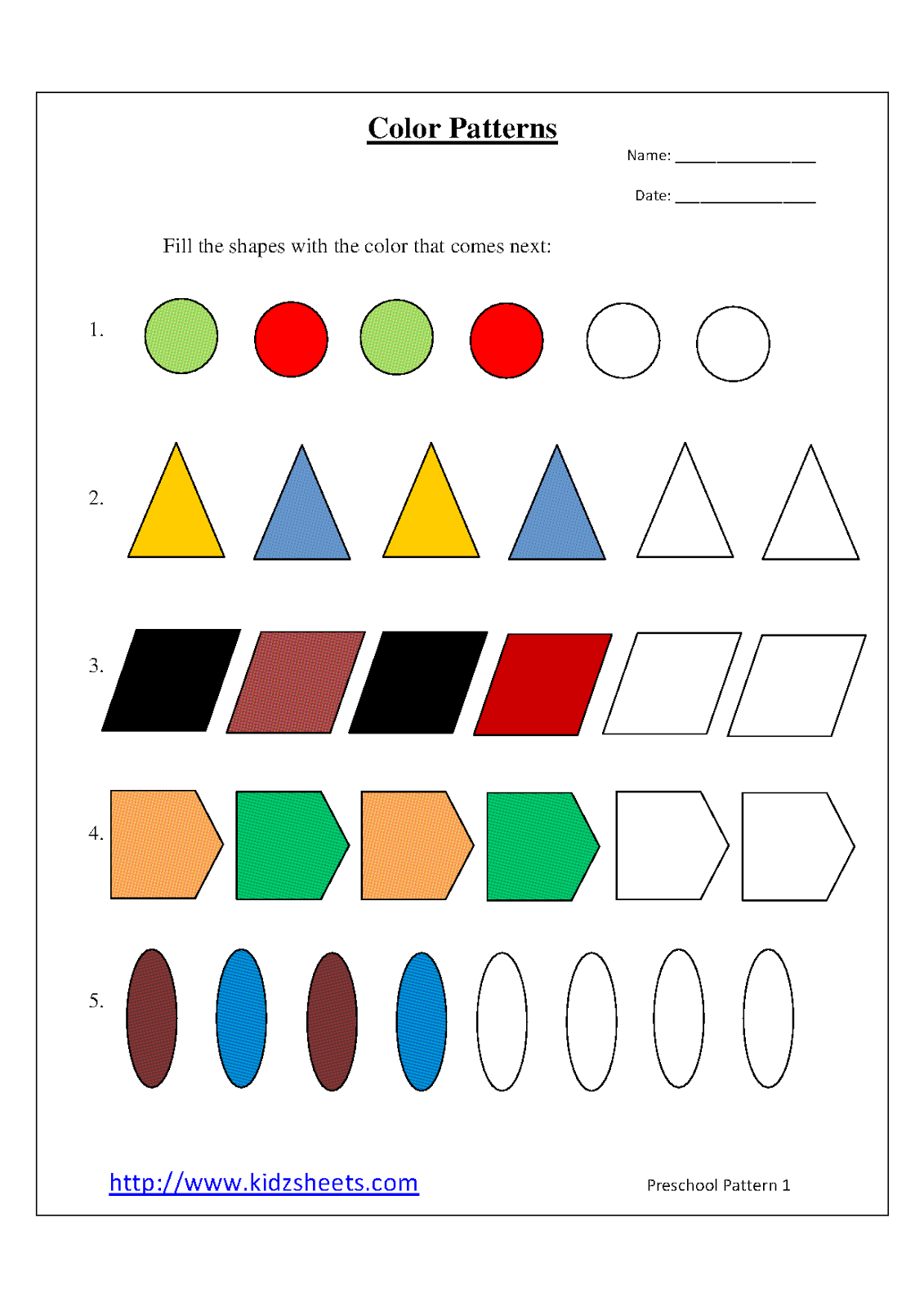 math worksheet : 9 best images of printable pattern worksheets for preschool  free  : Pattern Worksheets For Kindergarten Printable