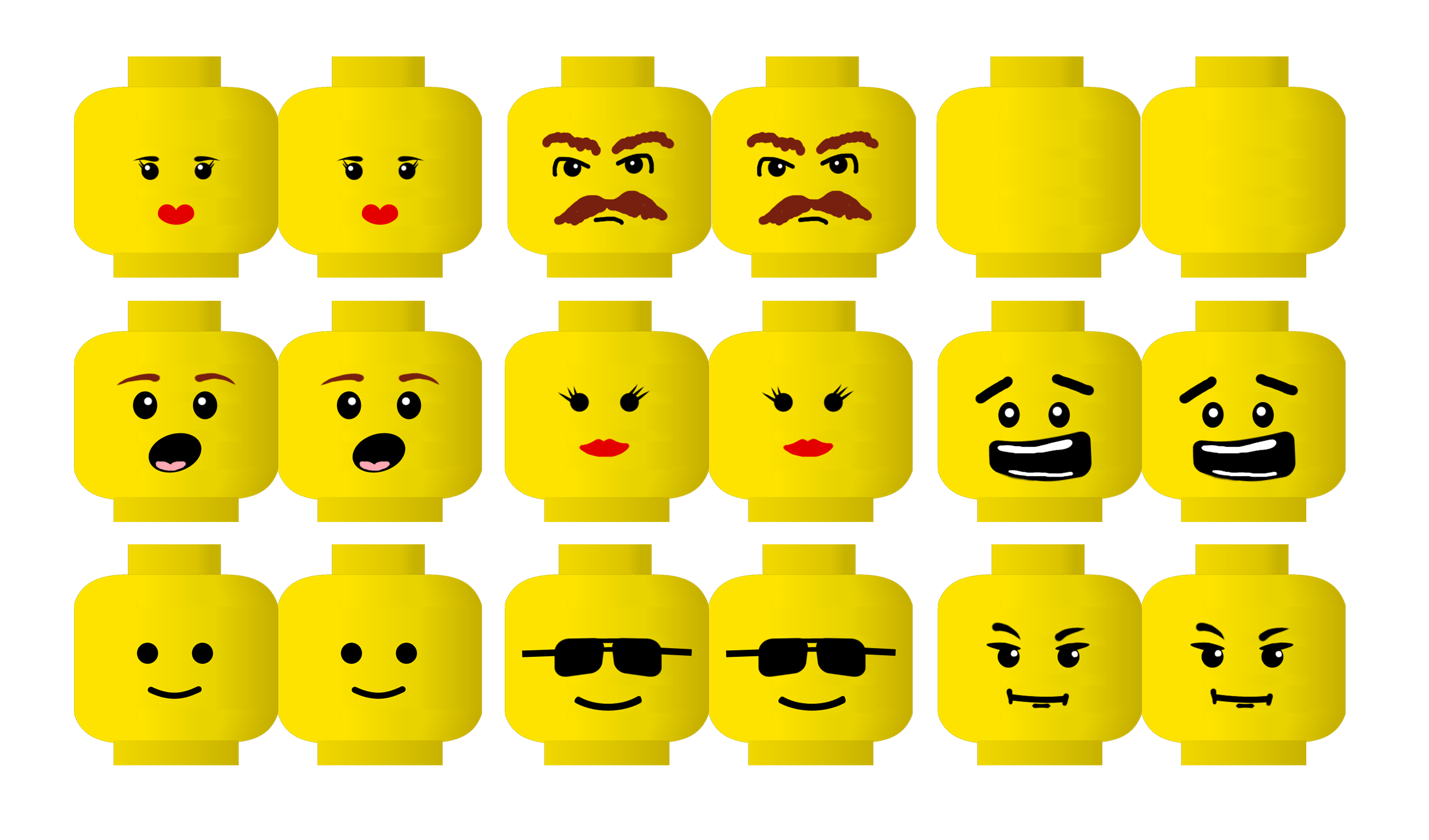 8 best images of lego faces printable lego face template for Lego minifigure head template