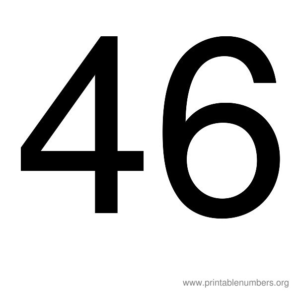 8 Images of Printable Number 46