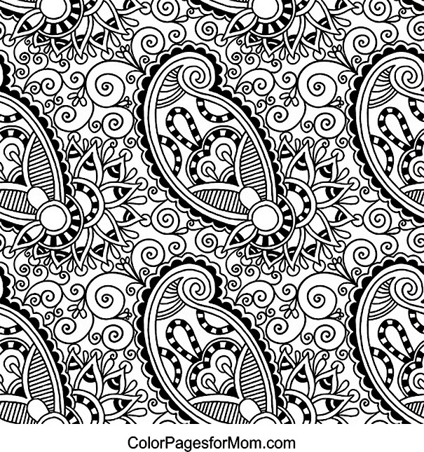 6 Images of Adult Paisley Coloring Pages Printable