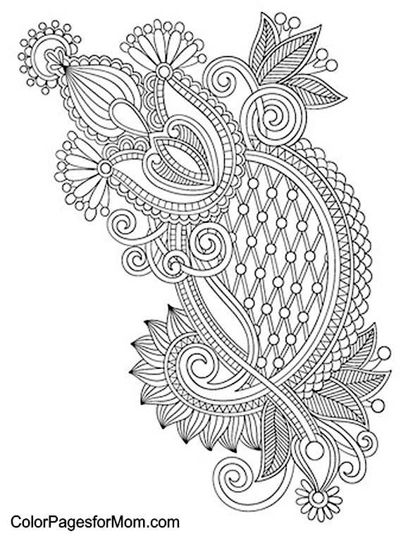 6 best images of adult paisley coloring pages printable for Paisley print coloring pages