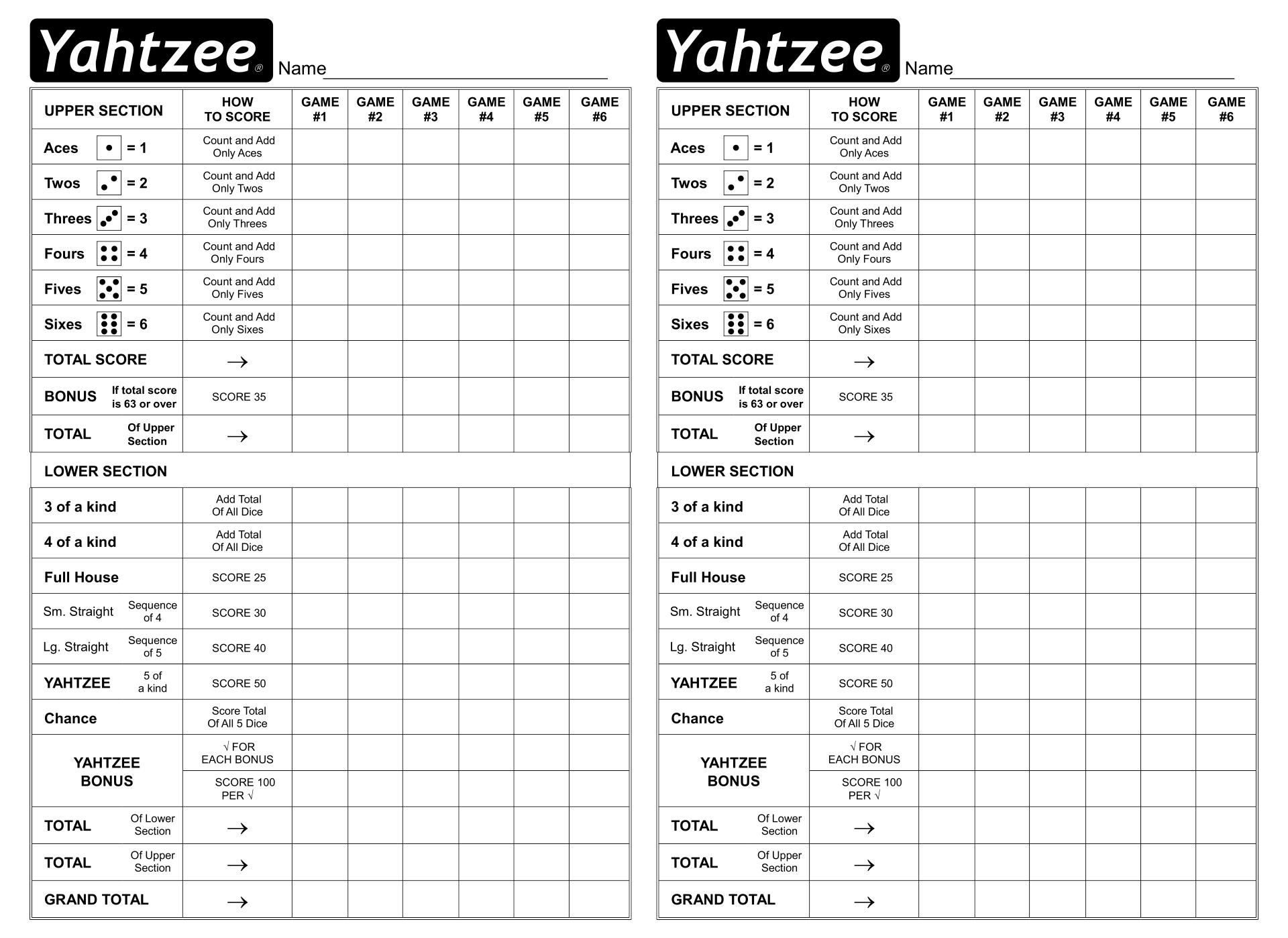 Printable Sheet Yahtzee Score Card