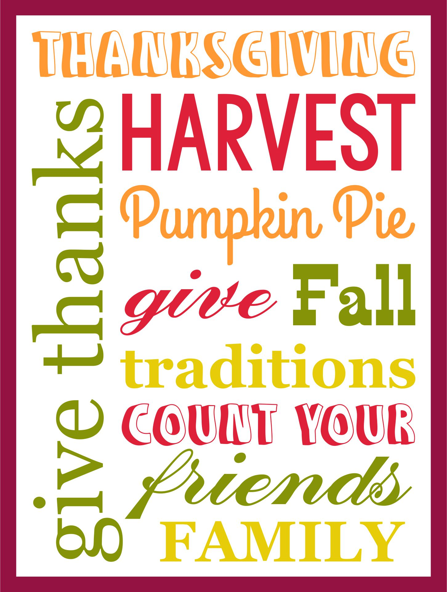 Printable Thanksgiving Subway Art
