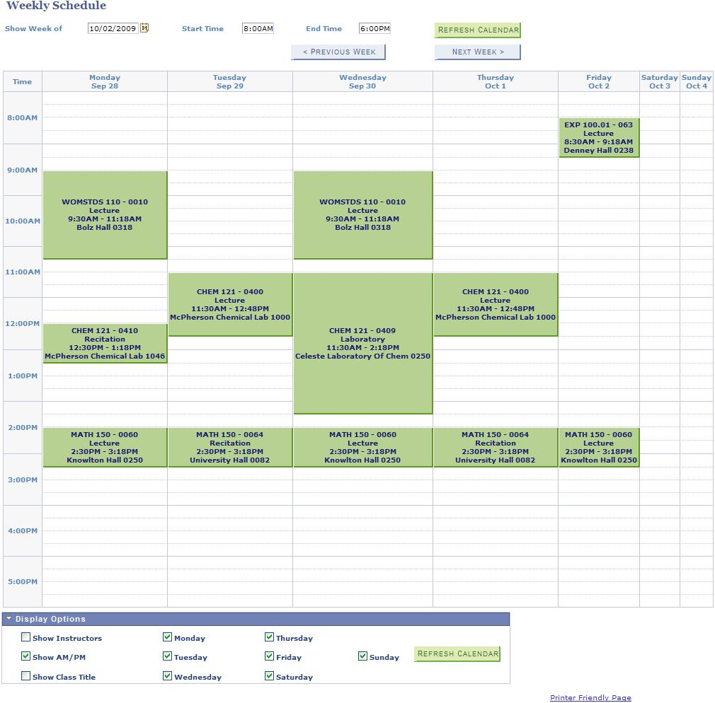 best college schedule