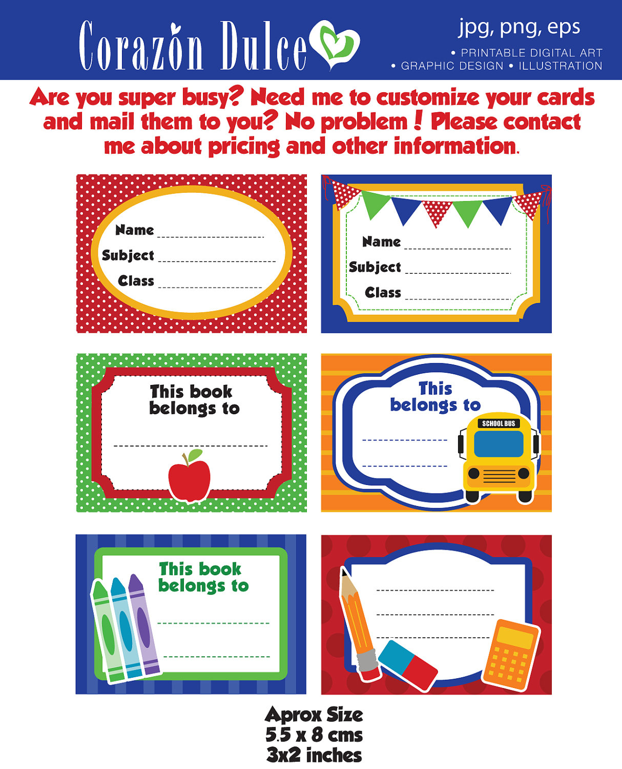 School Book Labels Printable