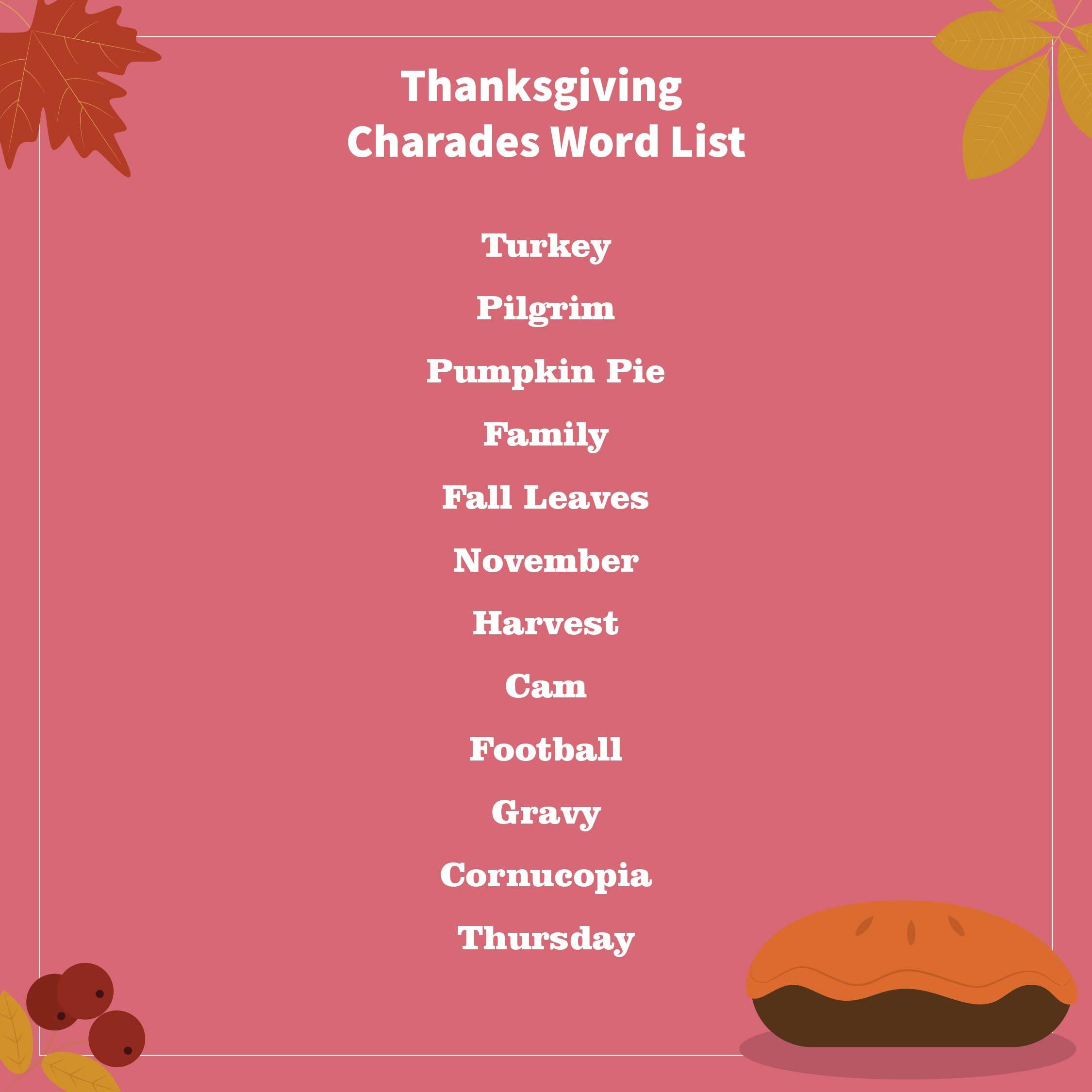 Thanksgiving Charades Word List