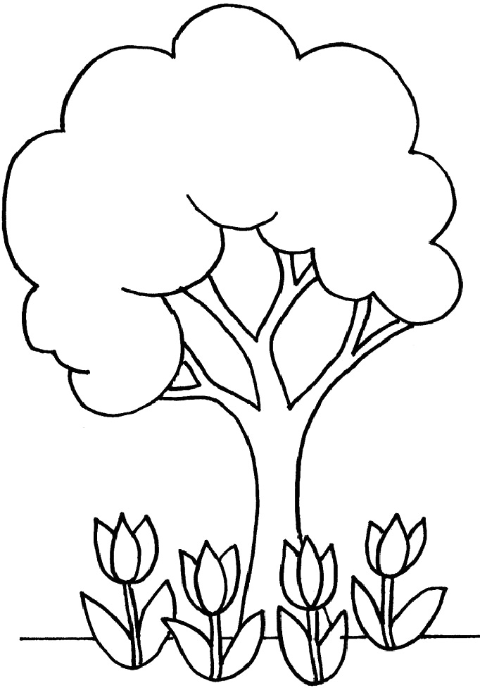 Abstract Spring Coloring Pages : Best images of printable tree coloring page flowers