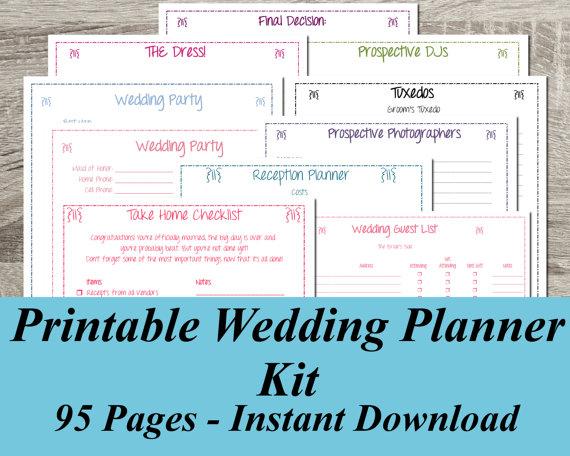 6 Images of Free Printable Wedding Planner Kit