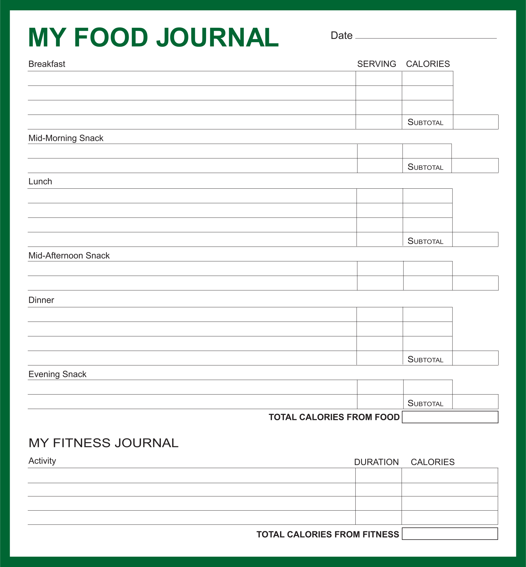 7 Images of Free Weight Watchers Food Journal Printable