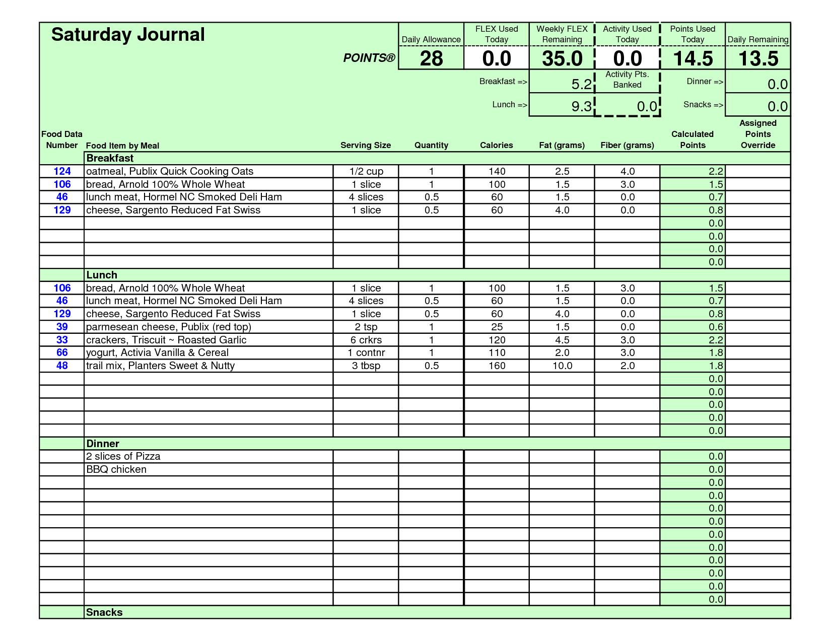 Weight Watchers Points Journal Template