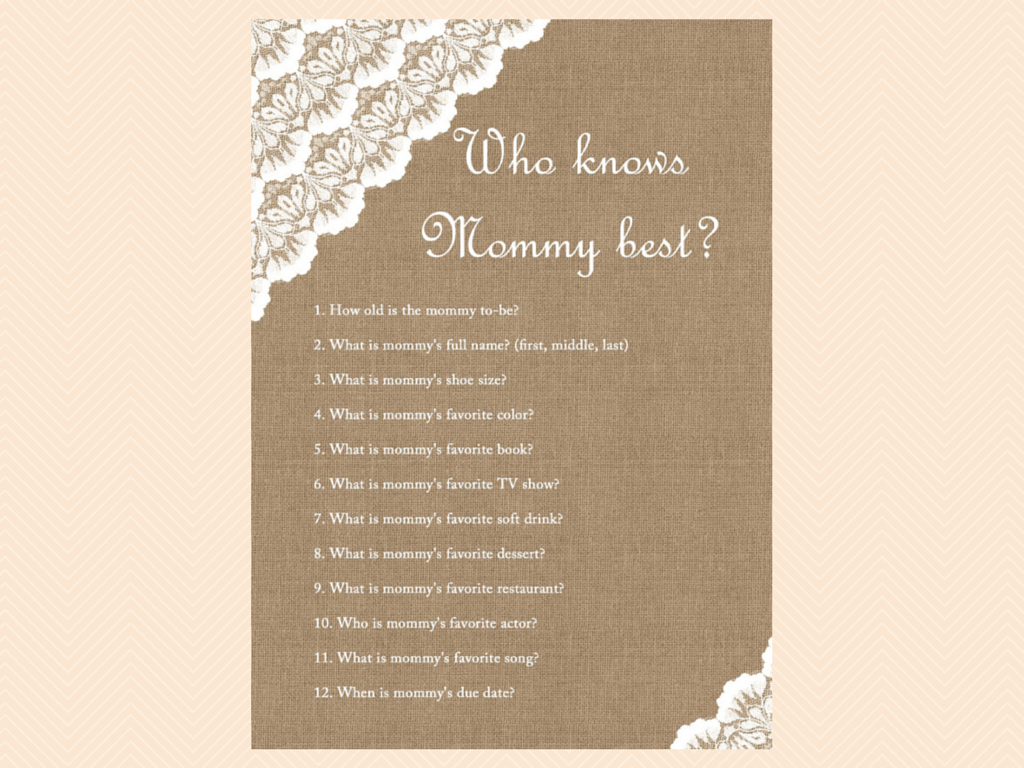 see who knows mommy baby shower game free printable baby shower games