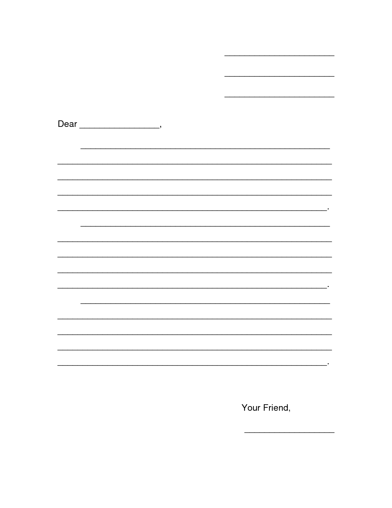 7 Images of Printable Friendly Letter-Writing Template