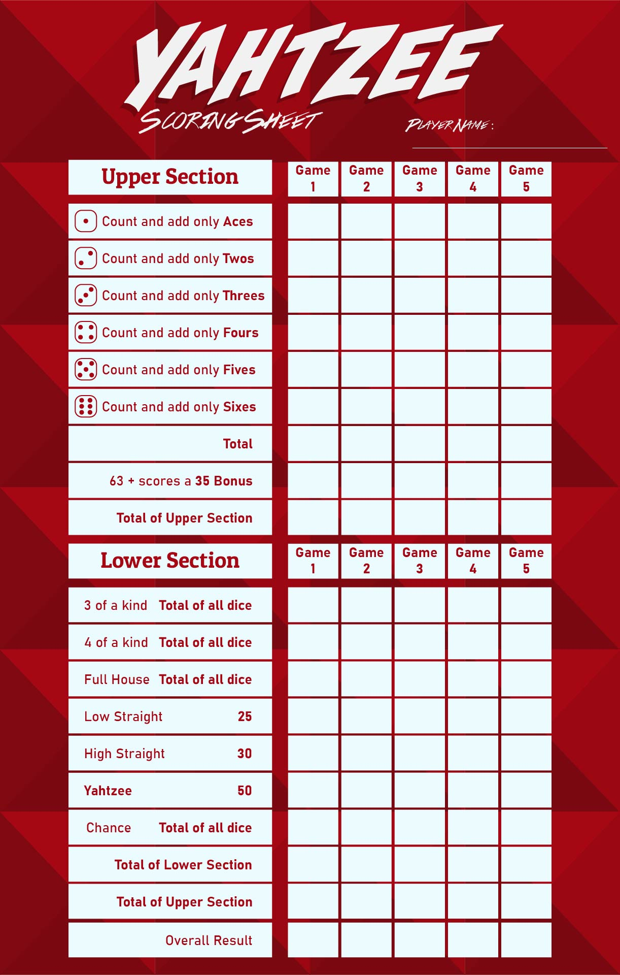 Irresistible image within printable yahtzee score pads