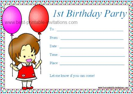 1st Birthday Party Invitations Printable