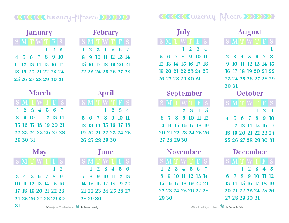 8 Images of 2015 Printable Calendar 6 Months Per Page