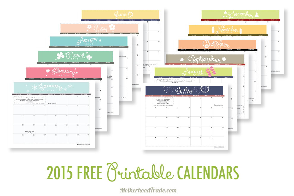 6 Images of Free Printable Calendar 2015