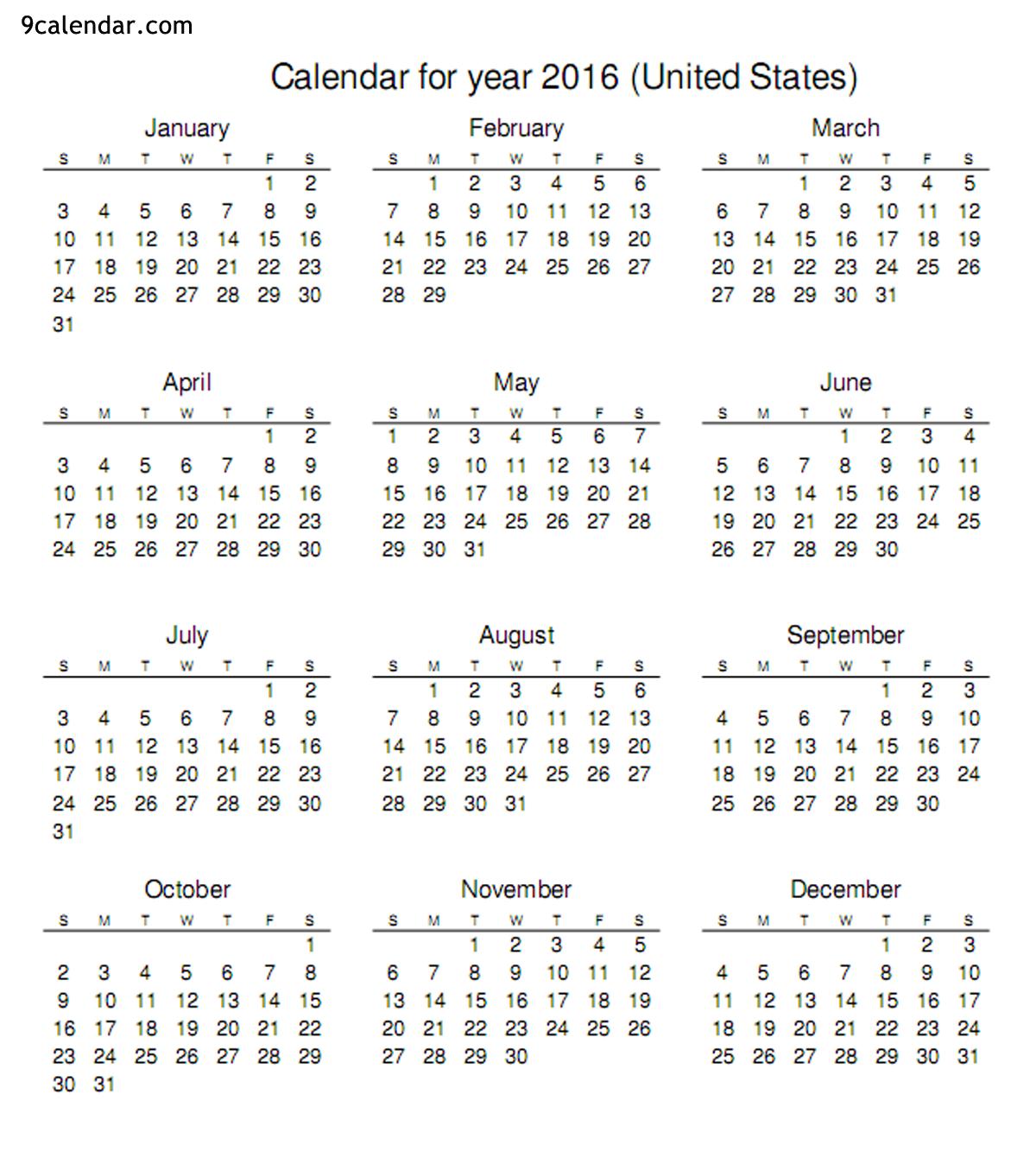 2016 Calendar Printable Org