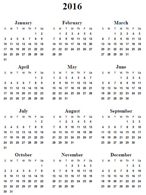 2016 Yearly Calendar Printable