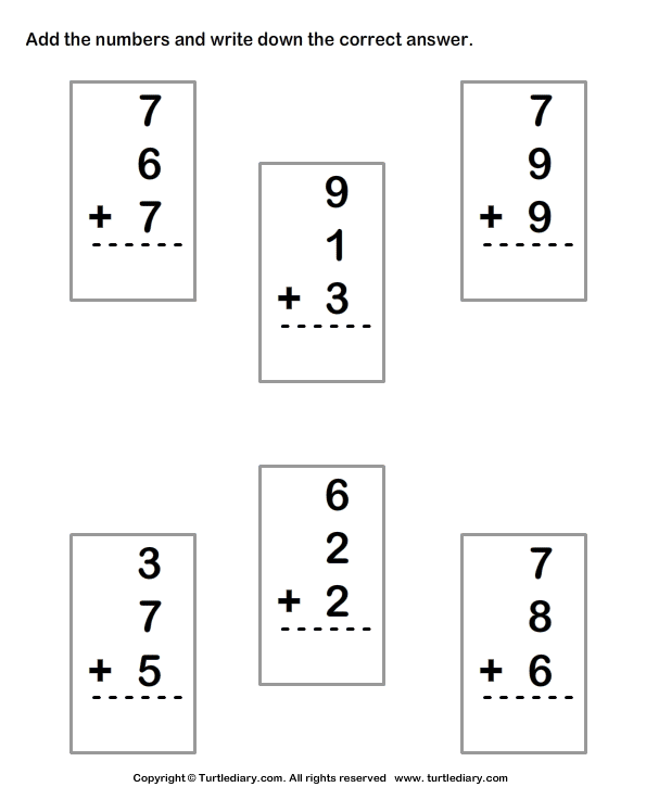 ... Worksheets Printable - First ...Adding Three Numbers Worksheets