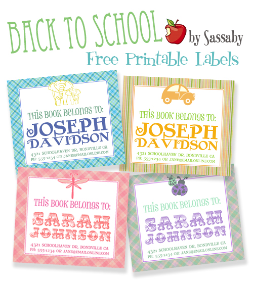 Back to School Printable Labels Free
