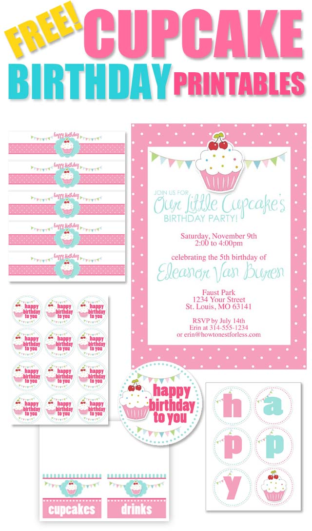 5 Images of Free Printable Birthday Cupcake Banner
