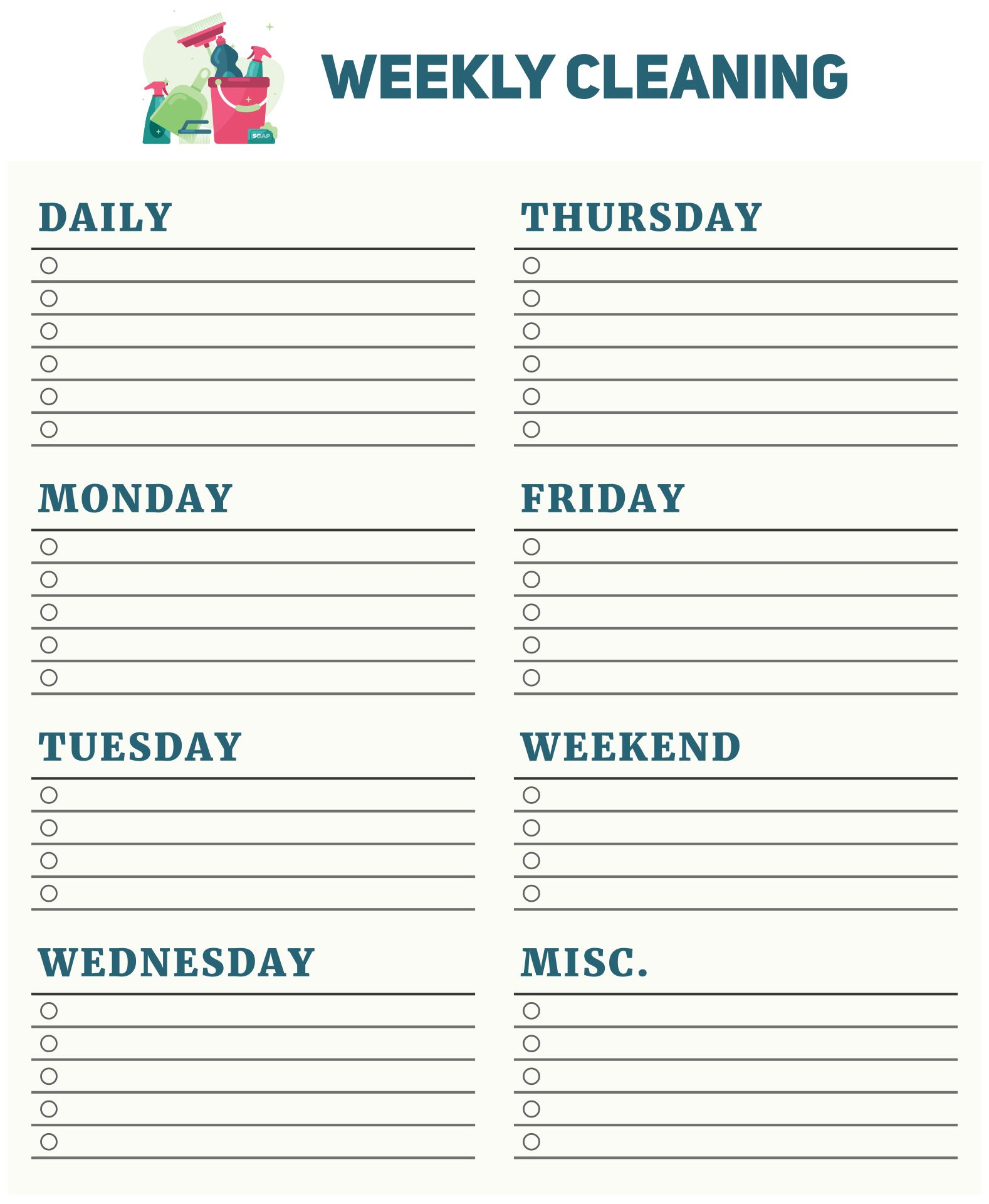 Blank Weekly Cleaning Checklist Template