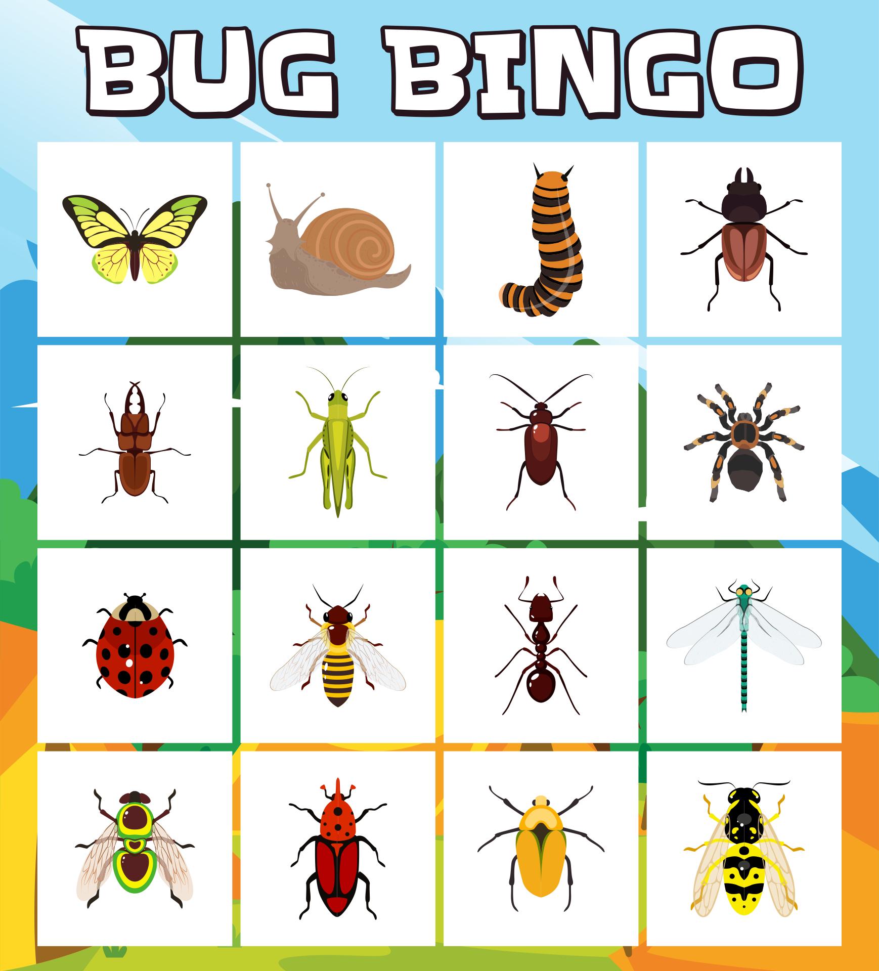 6 Images of Printable Bug Bingo Game